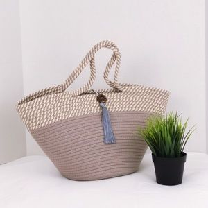 Large Rope Coil Color Block tote bag Gray Cream